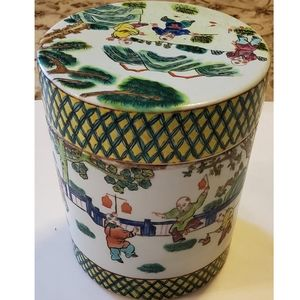 Painted Enamels Chinese Porcelain Vintage Canister
